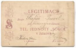 Czech Republic - SOKOL, Legitimace Legitimation 1898. ZIZKOV Praha - Historical Documents