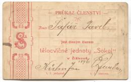 Czech Republic - SOKOL, Legitimace Legitimation 1900. ZIZKOV Praha - Historical Documents