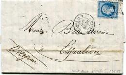 PARIS Etoile 5 R DE BONDY Sur LAC Du 26/09/1865 Variété Pothion N°3655 ( 2 Scans) - Marcophilie (Lettres)