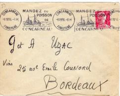 """CONCARNEAU Finistére  """"Mangez  Du Poisson De Concarneau """" 6.04.1956 - Storia Postale"""