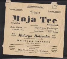 Dt. Reich Telegramm 1926 Amt Stuttgart Werbung Maja Tee - Deutschland