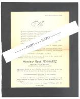 Faire-part De Décès De Mr. René PENNARTZ - WANDRE 1958 (b176) - Obituary Notices
