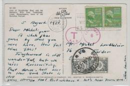 CP - 1951 - USA - Cambridge Vers Bruxelles - Taxe Sur N.Y.D & Taxe 80c X 2 En Belgique - Brrrr