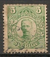Timbres - Suède - 1910/19 - 5 Ore - Sans Filigrane - - Oblitérés