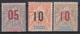 Colonies Francaises Nouvelle Calédonie N° 105,108,109 Surchargés 1912 Neuf * Charnière - Nouvelle-Calédonie