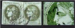 """YT 39C En Paire """" Cérès 1c. Olive """" 1870 Cachet à Date Type 17 - 1870 Bordeaux Printing"""