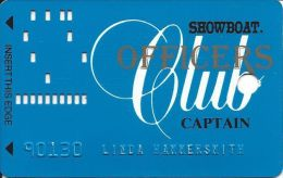 Showboat Casino Las Vegas 7th Issue Officers Club Captain Slot Card Raised Printing - Casino Cards