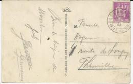 CARTE POSTALE 1933 AVEC CACHET AMBULANT LEMBACH A WALBOURG 1° - Marcophilie (Lettres)