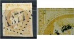 """YT 43B """" Cérès 10c. Bistre-jaune """" 1870 GC 1377 ECOUCHE - 1870 Bordeaux Printing"""