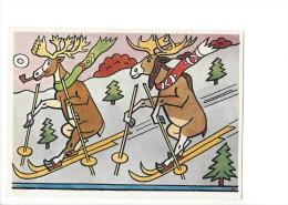 13370 - Kolorovana Kresba J. Lady Tisk Severografia Décin  Rênes De Noël à Skis - Animaux & Faune