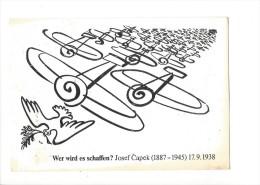 13374 - Wer Wird Es Schaffen Josef Capek 17.09.1938  Colombe De La Paix  Et Avions (Format 10X15) - Peintures & Tableaux