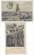 2 CARTES CACHET Perlé MEHEDYA ET MEQUINEZ MAROC SUR CP CASABLANCA ET MEQUINEZ /FREE SHIPPING REGISTERED - Marokko (1891-1956)