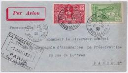 MADAGASCAR - LETTRE TANANARIVE PARIS 1938 TRES PROPRE - Madagascar (1889-1960)