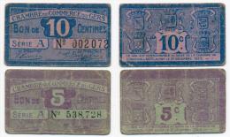1914-1918 // C.D.C. //  GERS // 5 & 10 Centimes - Cámara De Comercio