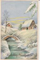 Gelukkig Nieuwjaar Houses In Winter Fantasy Postcard Ice River Bridge Fantaisie D`hiver - Anno Nuovo