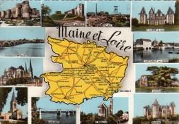 49 - Maine Et Loire : Multivues Et Carte Géographique Du Département - CPM écrite - Cartes Géographiques