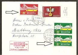 Schweiz, 953 Brief  Automobilpost  Rollenmarken, Je Mit Klebestelle Unten, Automobilstempel 2 Und Bern Hospes 1954 Nach - Switzerland