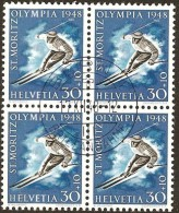 Schweiz, Zu W25x, W28x Im Viererblock Gestempelt,1948, St. Moritz, Olympia, Kat. Fr. 480.00, Siehe Scans! - Oblitérés