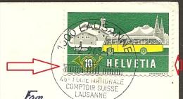 Schweiz, 1953 Brief  Automobilpost  Rollenmarken, Klebestelle Unten, Lausanne Comptoir 12. 9. 1965, Siehe Scans! - Switzerland