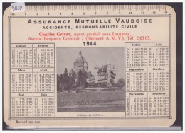 FORMAT 10x15 - LAUSANNE - BUVARD DE L'ASSURANCE MUTUELLE VAUDOISE - CALENDRIER 1944 - TB - Vloeipapier