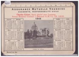 FORMAT 10x15 - LAUSANNE - BUVARD DE L'ASSURANCE MUTUELLE VAUDOISE - CALENDRIER 1944 - TB - Carte Assorbenti
