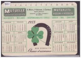 FORMAT 10x15 - LAUSANNE - BUVARD DE L´ASSURANCE MUTUELLE VAUDOISE - CALENDRIER 1953 - B ( PETIT PLI D'ANGLE ) - Vloeipapier