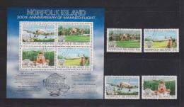 Norfolk Island 1983 Manned Flight Anniversary Set 4 & Miniature Sheet FU , MS With Some Light Paper Wrinkle - Isola Norfolk
