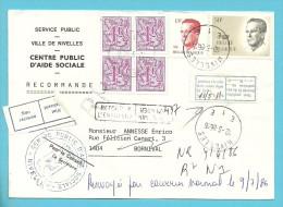 1850+2127+2203 Op Brief Met RP Met Stempel NIVELLES Naar BORNIVAL, Met Strookje NON RECLAME + Stempel RETOUR... - 1981-1990 Velghe