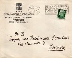 1939   LETTERA INTESTATA PARTITO NAZIONALE FASCISTA DOPOLAVORO VALLECCHI FIRENZE + TARGHETTA MAGGIO FIORENTINO - 1900-44 Vittorio Emanuele III