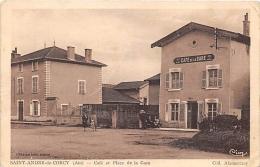 AIN  01   SAINT ANDRE DE CORCY  CAFE ET PLACE DE LA GARE - Francia