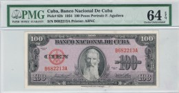 "1954 - 100 PESOS PMG 64 EPQ PICK #82b - DIFICIL- UNCIRCULATED SCARCE ( SIN CIRCULAR )"" BANCO NACIONAL "" - Cuba"