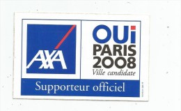 Autocollant , Sports , Jeux Olympiques , OUI PARIS 2008 , AXA Supporteur Officiel - Autocollants