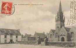 Cpa 29 Pleyber-Christ, L'Eglise Et La Place, Hotel De La Grand Maison, Carte Pas Courante Affranchie 1907 - Autres Communes