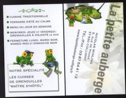Carte De Visite Business Card La Petite Auberge Cuisses De Grenouilles - Visitenkarten