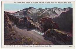 Longs Peak from Big Rock Point. Trail Ridge Road Rocky Mountains Colorado c1930s CO postcard [8712]