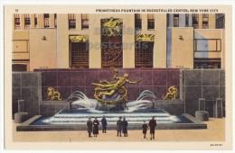 New York City Prometheus Fountain Sunken Plaza Rockefeller Center 1930s NY Postcard [8715] - New York City