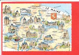 LE MAINE Cpsm Carte Géographique               Edit Artaud - Maps