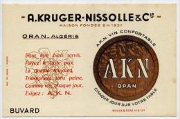 """Buvard--Algérie--ORAN-- Vin, A.K.N.-- A. Kruger-Nissolle & Cie----""""vin Confortable,chaque Jour Sur Votre Table"""""""