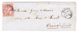 Heimat SH Schaffhausen 21.01.1859 Mit 15Rp. Strubel Auf Brief Nach Chaux De Fonds - 1854-1862 Helvetia (Non-dentelés)