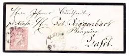 Heimat SH Schaffhausen 23.04.18?? Mit 15Rp. Strubel Zu. 24G Auf Trauerbrief Nach Basel - 1854-1862 Helvetia (Non Dentellati)
