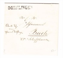 Heimat SH Dorflingen Balkenstempel Auf Brief Nach Buch Mit Transitst. Stein Und Diessenhofen 11.10.1872 - 1854-1862 Helvetia (Non-dentelés)