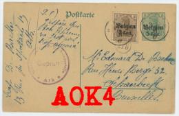 Entier Occupation Ath Censure Prüfstempel Cachets 278 Überwachungsstelle 1917 Schaerbeek Germania - Entiers Postaux