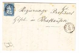 Heimat SH Unterneuhaus 20.07.1860 Mit 10Rp. Strubel Auf Faltbrief - 1854-1862 Helvetia (Non-dentelés)