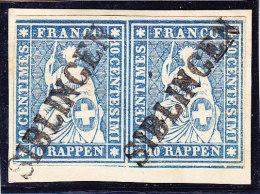 Heimat SH Siblingen Balkenstempel  Auf Waagrechtes Paar Strubel 10Rp. Kat.#23G Auf Papierstück Signiert Von Der Weid - Gebraucht