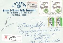 TIMBRES - STAMPS - LETTRE RECOMMANDEE - PORTUGAL - FLEURS SAUVAGES - Limonium Multiflorum Erbn ET AUTRES TIMBRES DIVERS - 1910-... République