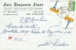 TIMBRES - STAMPS - LETTRE RECOMMANDEE - PORTUGAL - FLEURS SAUVAGES - Linaria Lamarkii Rouy - 1910-... République