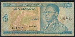 CONGO  P9a  10  MAKUTA    1967    VF - Zonder Classificatie