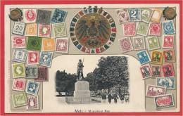 57 - METZ - Monument Ney - Carte Fantaisie Gaufrée - Timbres Allemands - Deutsches Reich - Metz