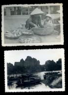Lot De 2 Photos - Indochine Saigon 1949-50 Photographies D´un Militaire - Le Marché - PAR21 - Lieux