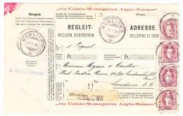Heimat SO Mümliswil 21.01.1897 Mit 4x1Fr. Stehende Auf Paketkarte Nach England - Lettres & Documents